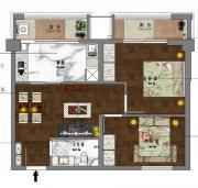 新沪浦大厦G户型2室2厅76.8㎡