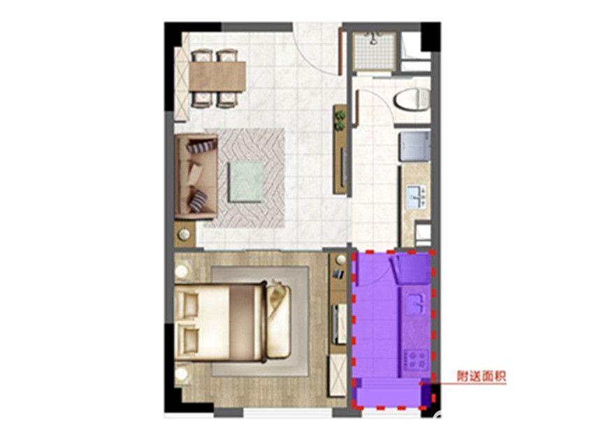 和泰国际广场公寓1室1厅50平米