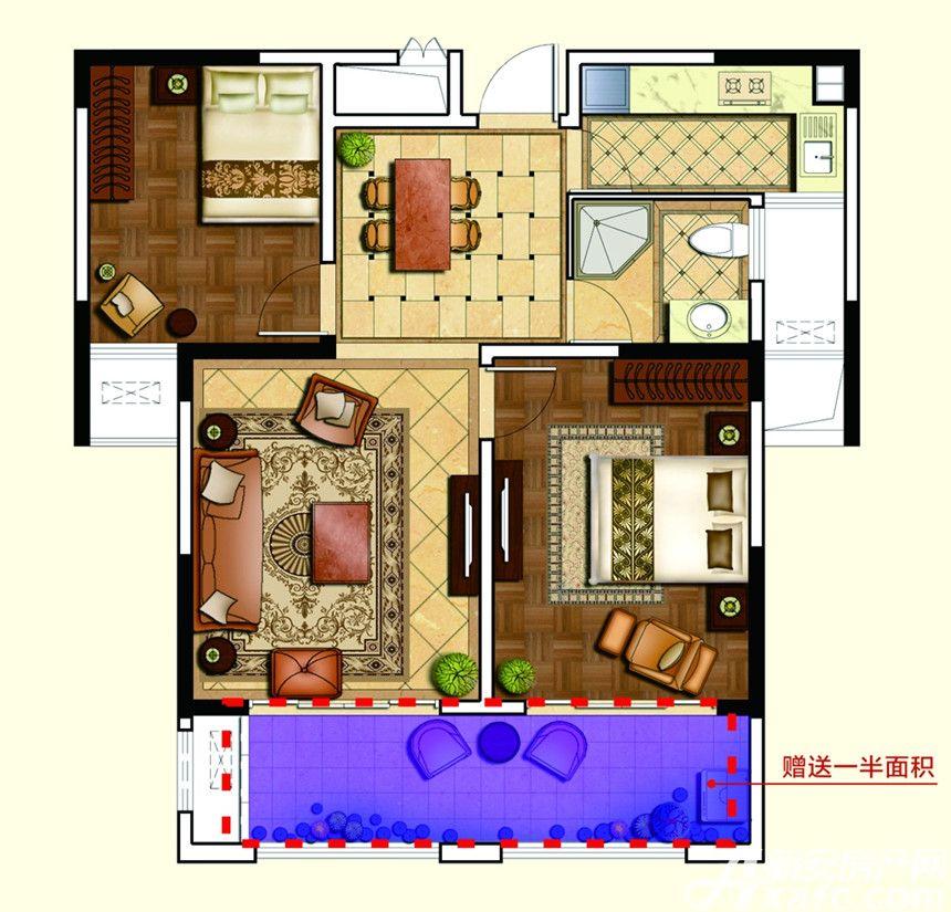 和泰国际广场F户型2室2厅83平米