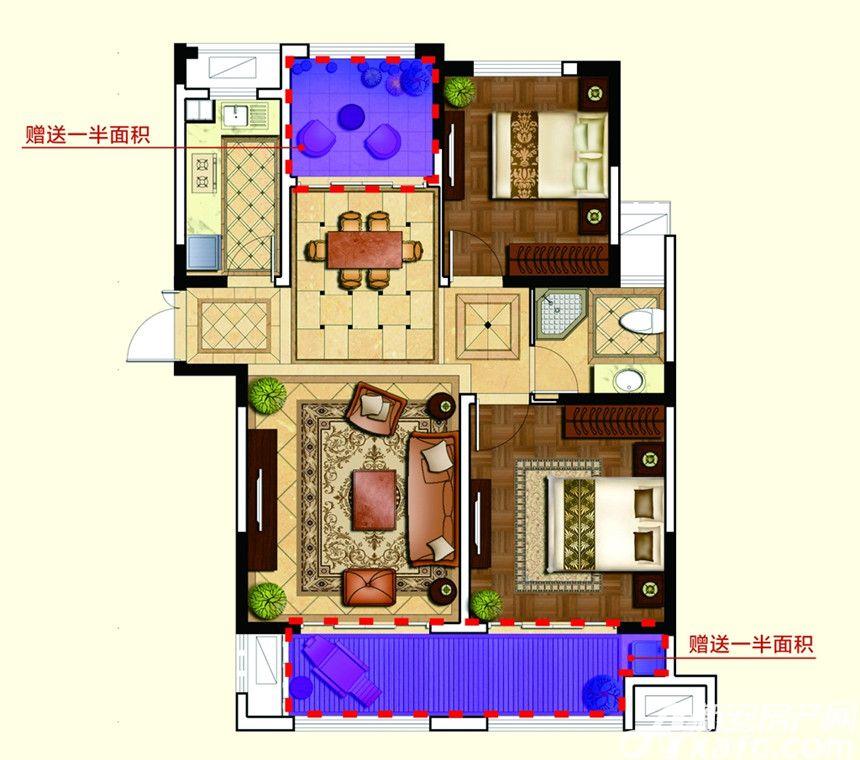 和泰国际广场G户型2室2厅95平米