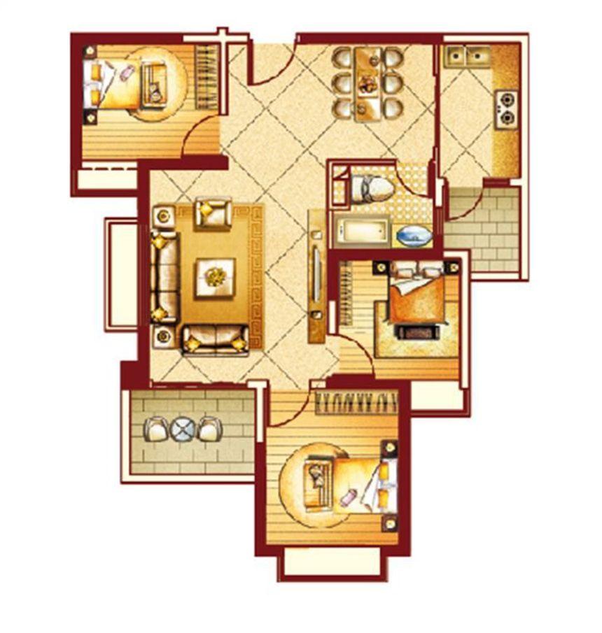 恒大御景湾户型23室2厅97平米
