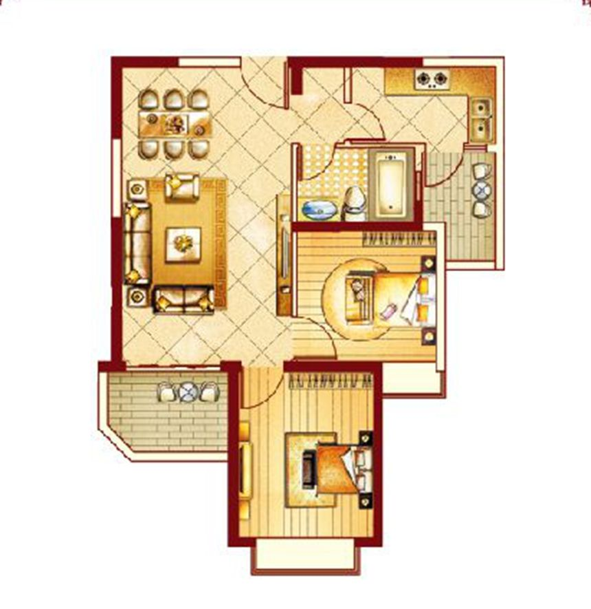 恒大御景湾户型12室2厅83平米