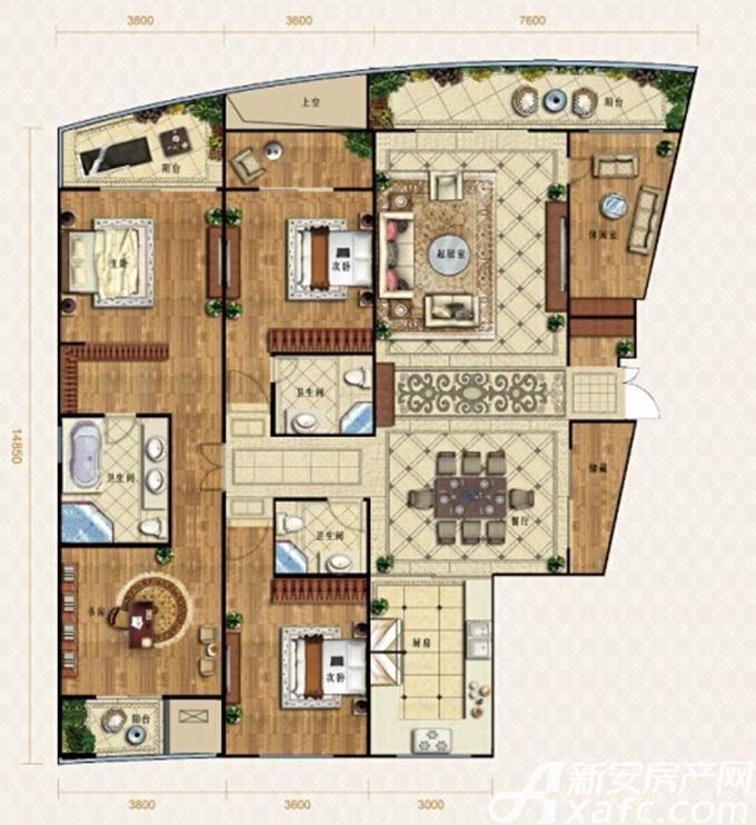金鹰天地广场御峰户型5室2厅240平米