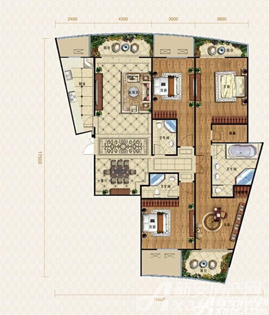 金鹰天地广场御湖户型4室2厅210平米