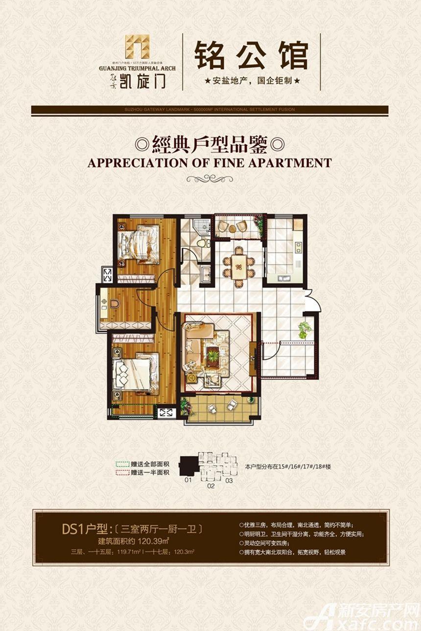 冠景凯旋门DS1户型3室2厅120.39平米