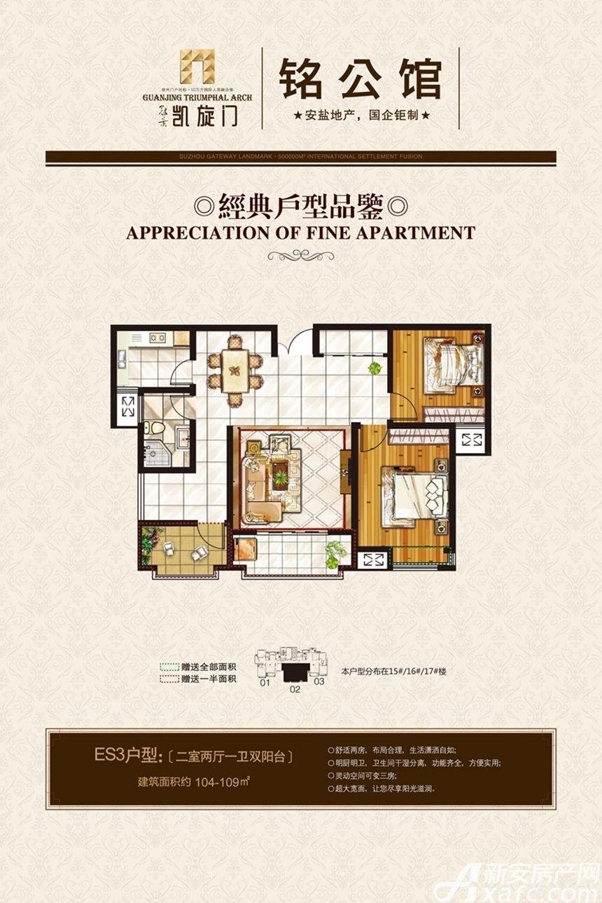 冠景凯旋门ES3户型2室2厅104平米