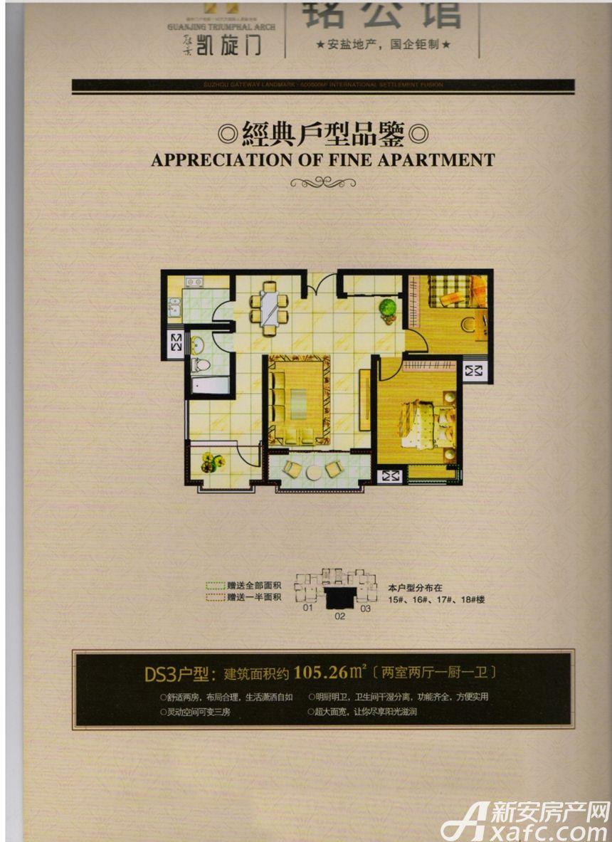 冠景凯旋门DS3户型2室2厅105.26平米