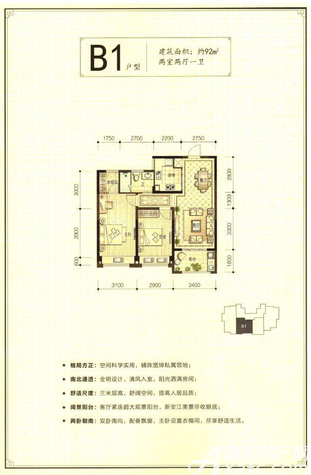新安印象B12室2厅92平米