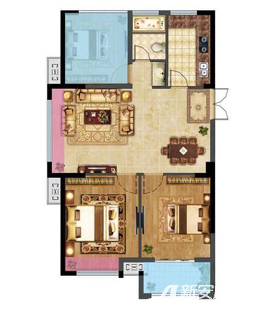 融邦领秀国际E户型3室2厅93平米