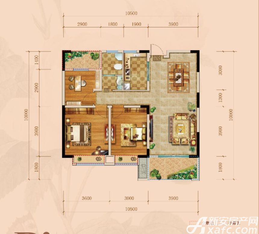 远大玫瑰园A1户型3室2厅128平米