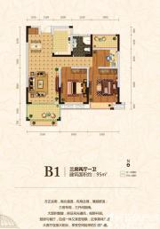 皖能皇家花园B1户型3室2厅95㎡