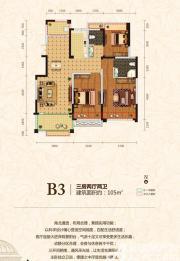 皖能皇家花园B3户型3室2厅105㎡