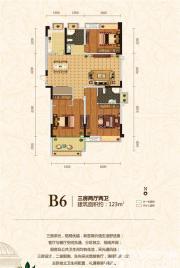 皖能皇家花园B6户型3室2厅123㎡