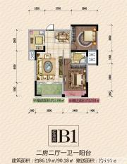 公园道壹号12#B1户型2室2厅86.19㎡