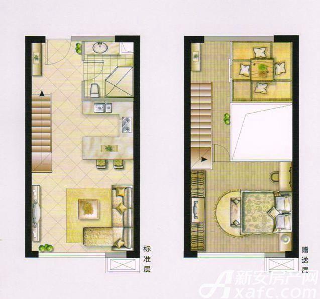 大台北公寓户型2室2厅55平米