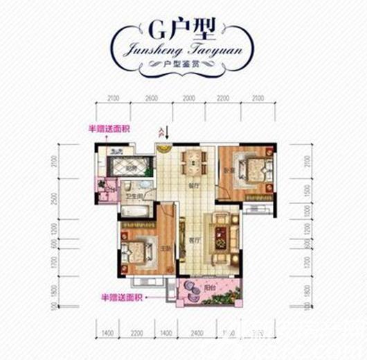 君盛桃源G户型2室2厅90.88平米