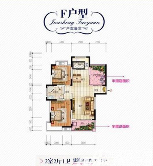 君盛桃源F户型2室2厅97.21平米