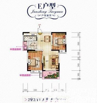 君盛桃源E户型2室2厅83.8平米