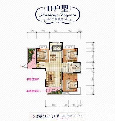 君盛桃源D户型3室2厅113.5平米
