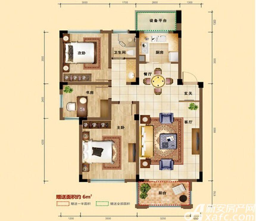 凡尔赛公馆D2户型 3室2厅1卫3室2厅88平米
