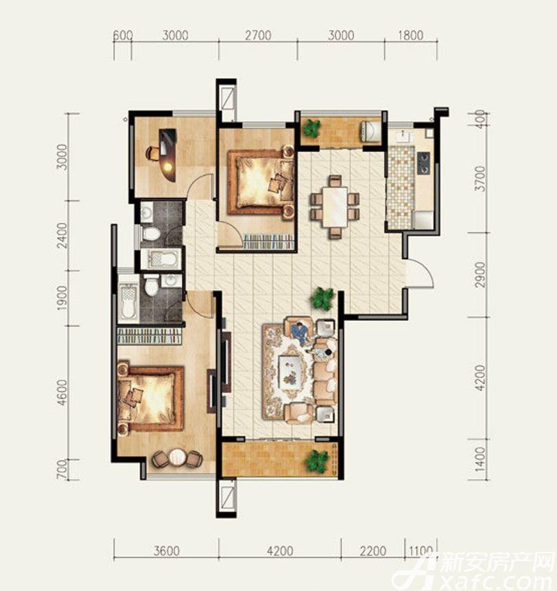 香樟里那水岸B2户型3室2厅126平米