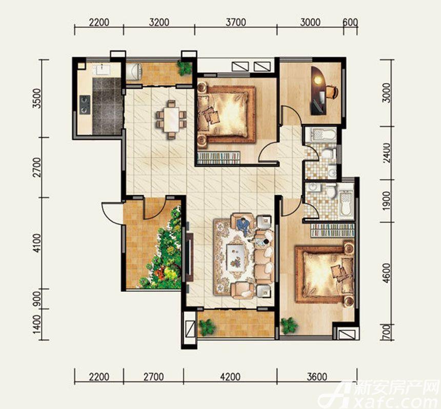 香樟里那水岸A4户型3室2厅136平米