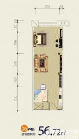 恒大雅苑户型061室1厅56.72㎡