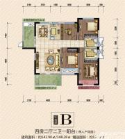 公园道壹号13#B户型4室2厅142.9㎡