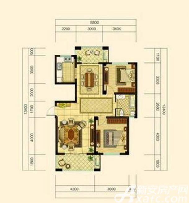 中源上城B1户型 2室2厅1卫2室2厅107平米