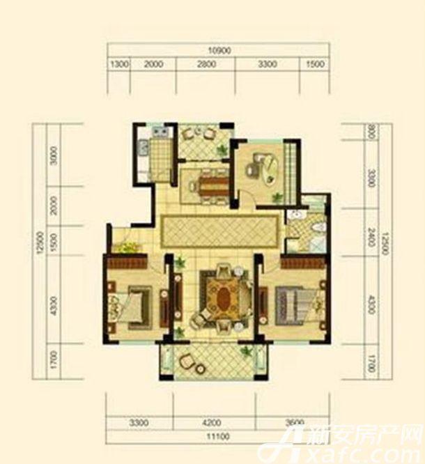 中源上城A3户型  3室2厅1卫3室2厅122平米