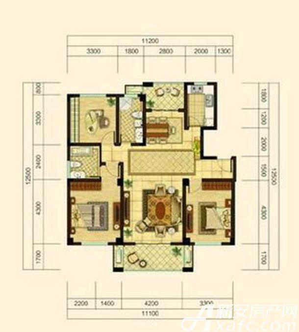 中源上城A2户型  3室2厅2卫3室2厅130平米