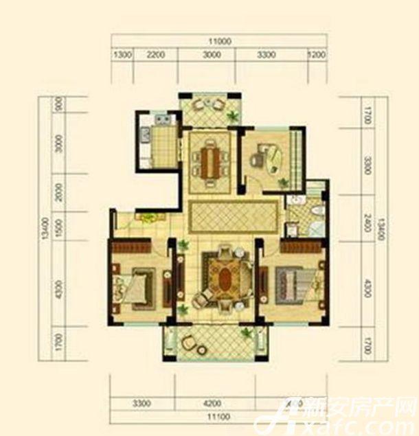 中源上城A1户型  3室2厅1卫3室2厅125平米
