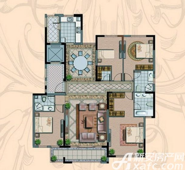 金海岸名邸A3户型  4室2厅3卫4室2厅194.12平米