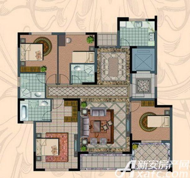 金海岸名邸A1户型  3室2厅2卫3室2厅143.29平米