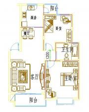 浦西新城D-2户型2室2厅85.73㎡