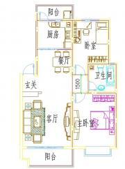浦西新城D-4户型2室2厅89.62㎡