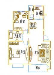 浦西新城D-1户型2室2厅90.04㎡