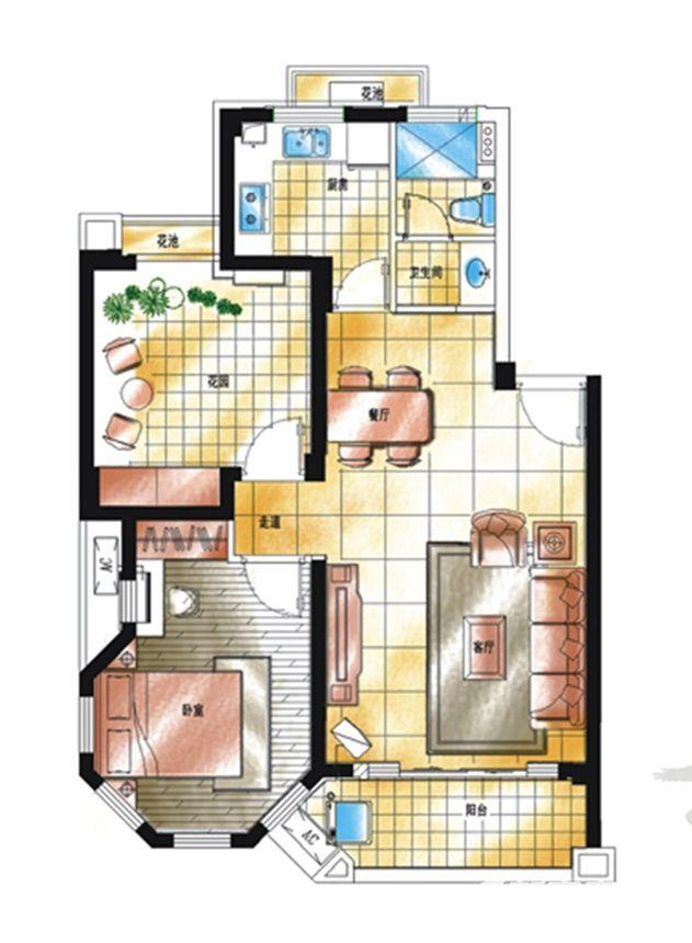 滨江郡A2-5户型2室2厅77.14平米