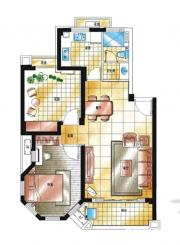 滨江郡A2-5户型2室2厅77.14㎡