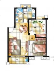 滨江郡A4-2户型2室2厅63.72㎡