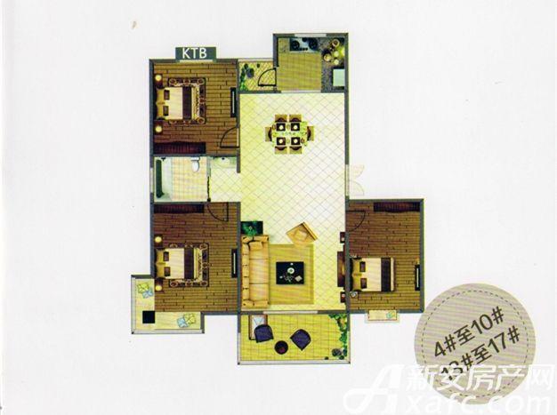天柱栖庭A2户型3室2厅94平米