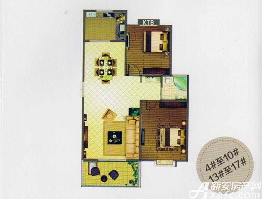 天柱栖庭A1户型2室2厅88平米