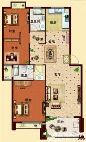 玉龙湾户型B53室2厅110.32㎡
