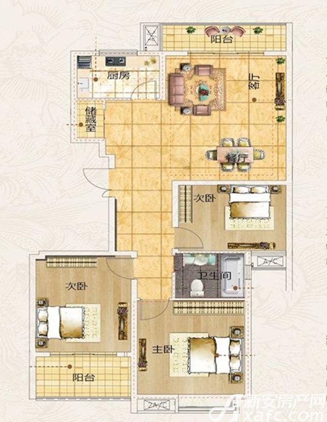 名冠名人苑B户型3室2厅120.11平米