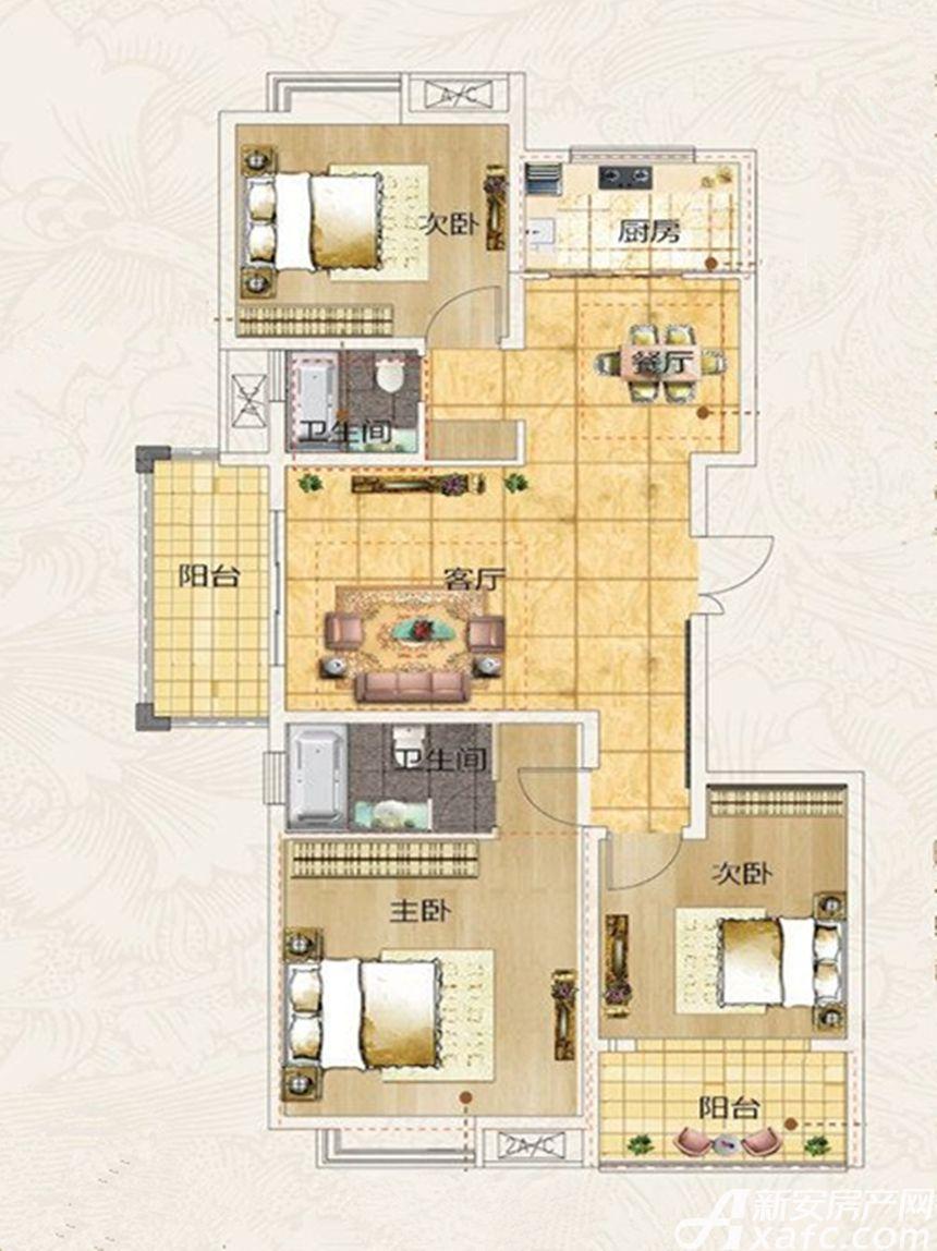 名冠名人苑A户型3室2厅123.03平米