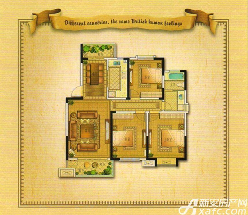 御景园香山红郡E3户型 3室2厅1卫3室2厅115平米