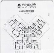 恒大绿洲8#楼标准层户型图3室2厅110㎡