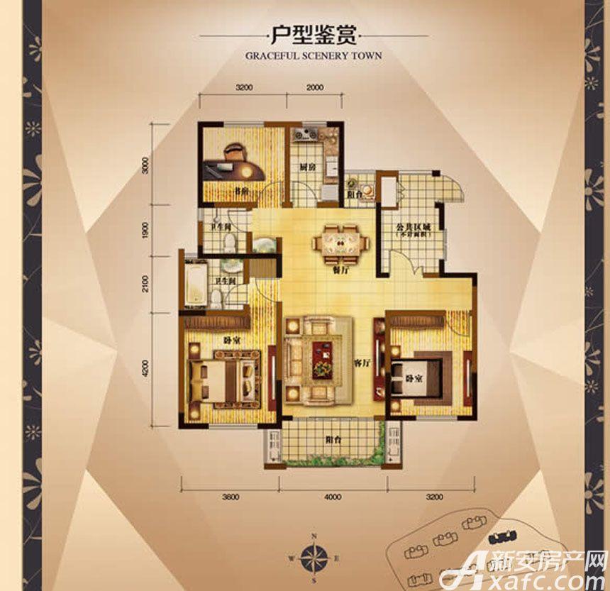 大发宜景城3期C3户型3室2厅119.22平米