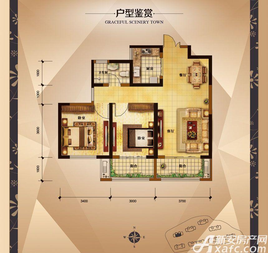 大发宜景城3期A2户型2室2厅89.72平米