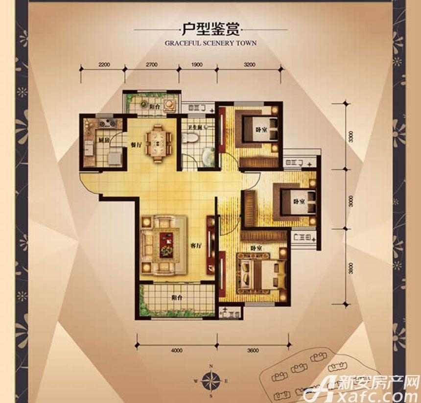 大发宜景城3期B3户型3室2厅107.72平米